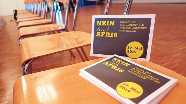 Das Faltblatt des Komitees gegen die Aufgaben- und Finanzreform des Kantons Luzern.