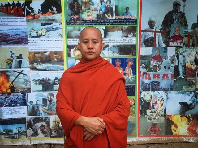 Ein burmesischer Mönch mit ernstem Gesicht.