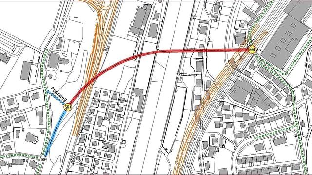 Eine Karte der Linienführung.