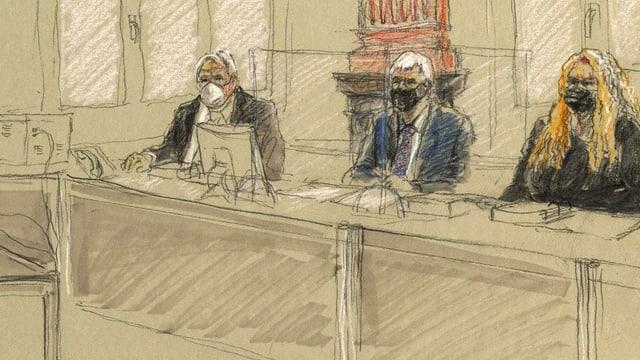 Zeichnung der drei Richterinnen und Richter.