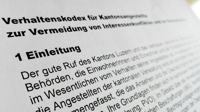Ausschnitt des neuen Verhaltenskodexes für die Kantonsangestellten in Luzern.