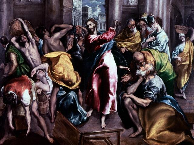Ein altes Gemälde: Christus vertreibt die Geldwechsler mit einer Peitsche aus dem Tempel: El Grecos «Tempelreinigung».