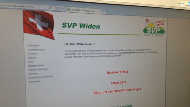 Blick auf die Website der SVP Widen.