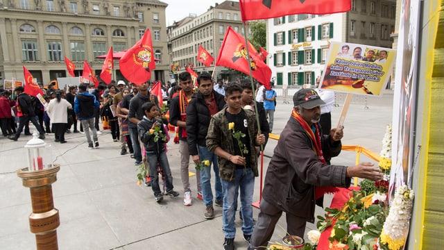 Am 18. Mai 2016 gedachten Tamilen auf dem Bundesplatz der 450'000 Opfer in 30 Jahren Bürgerkrieg.