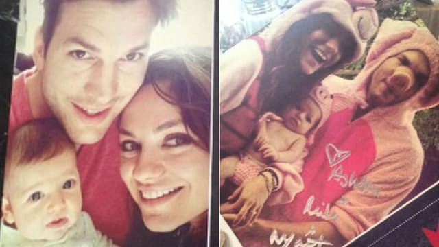 Ashton Kutcher, Mila Kunis und Wyatt auf zwei Fotos