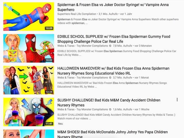 Youtube-Videos in der Übersicht