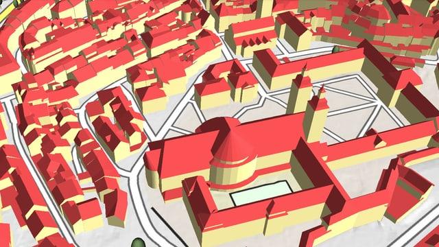 Kathedrale St. Gallen und Klosterplatz als 3D-Modell, erzeugt aus Lidar-Daten.
