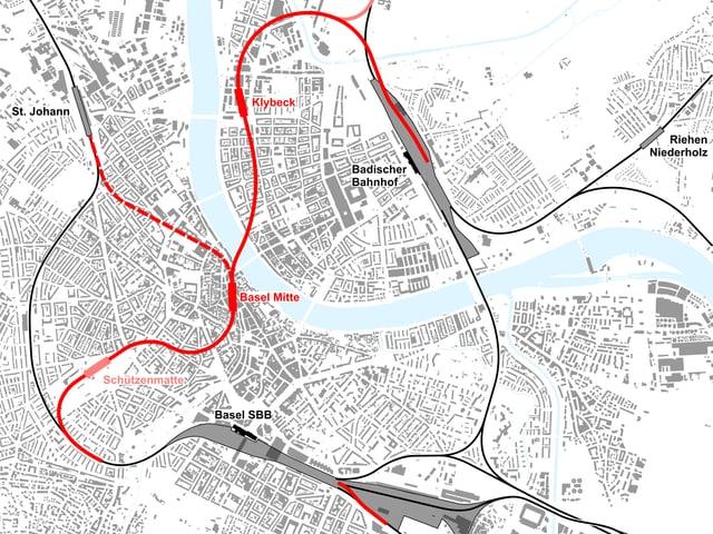 Karte mit Linienführung