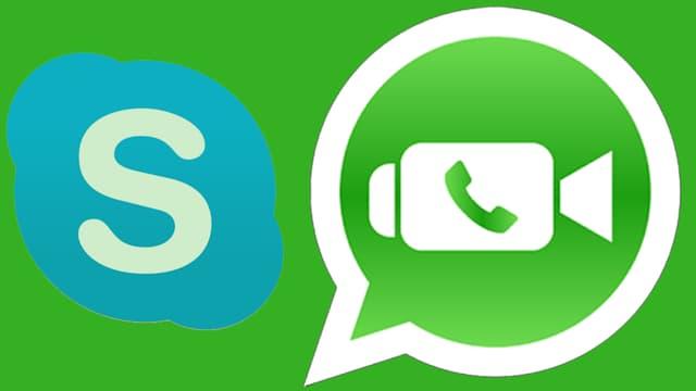 Die Logos von Skype und Whatsapp. Das von Skype leicht grünlich. Statt blau.
