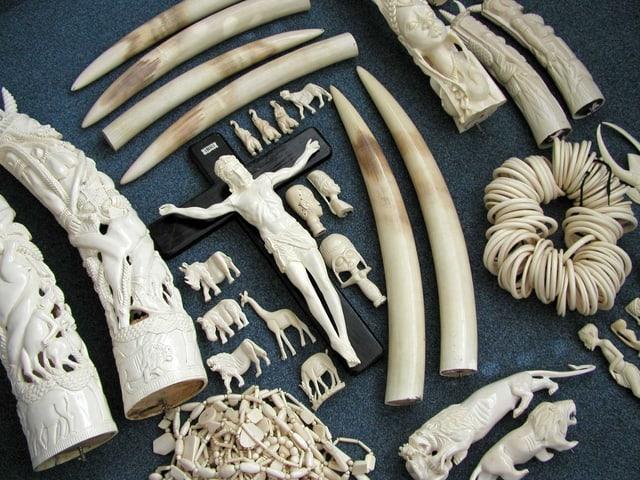 Stosszähne, Jesus und mehrere Tierfigürchen aus Elfenbein.