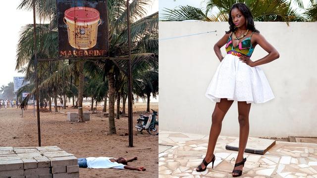 Geteiltes Bild: Rechts steht eine Frau, links ist ein Strand mit Palmen - ein Mann liegt im Sand.