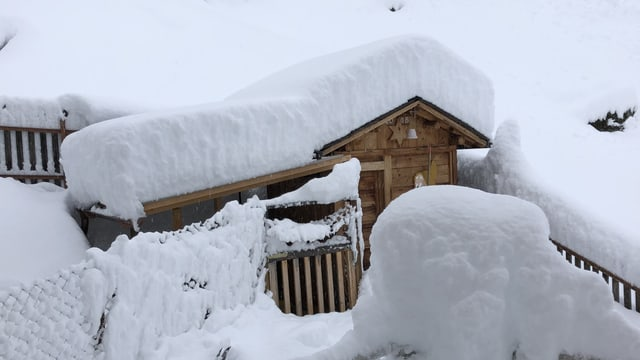 Tiefverschneite Häuser am nördlichen Fuss des Lukmanierpasses.