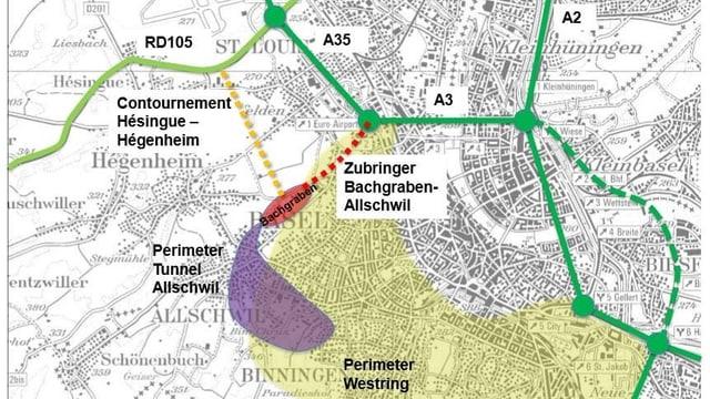 Plan Bachgraben mit Strassennetz
