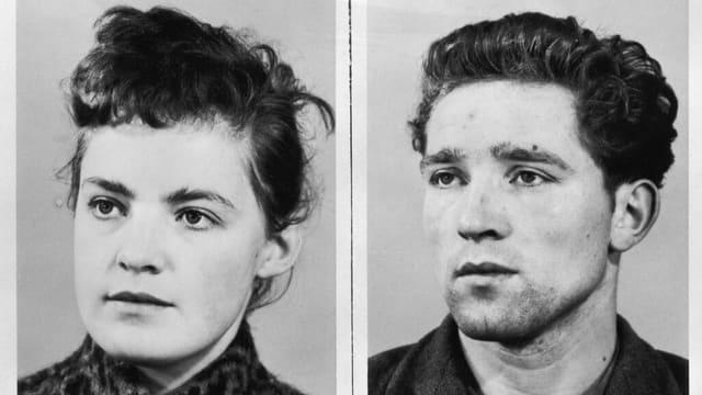 Altes schwarzweiss Foto von einer Frau und einem Mann aus Verbrecherkartei