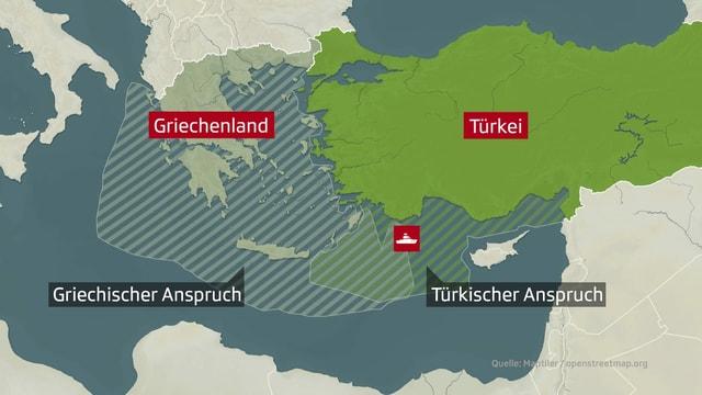 Karte von Griechenland und Türkei, die die beiden Ansprüche zeigen.
