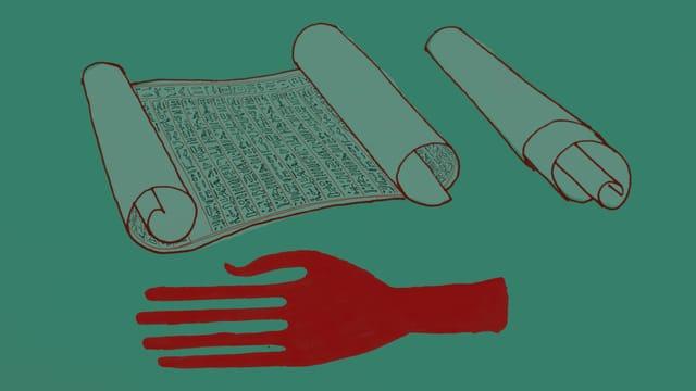 Illustration mit Hand und Papyrus