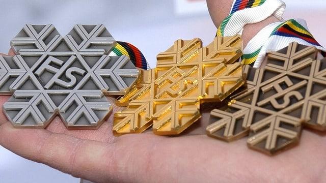 Bild der Ski-WM Medaillen von Cortina