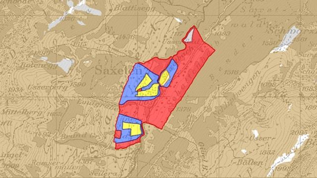 Rote, blaue und gelbe Zonen in einer Karte eingezeichnet.