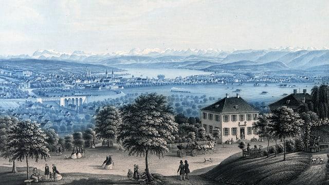 Alter Stich: Blick über Zürich von der Weid aus.