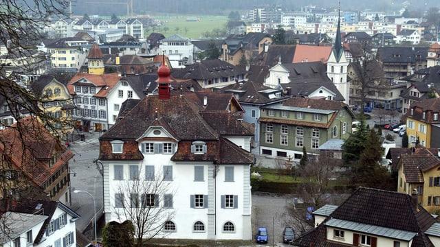 Blick auf Sarnen vom Landenberg aus.
