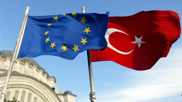 La bandiera da l'UE e quella da la Tirchia.
