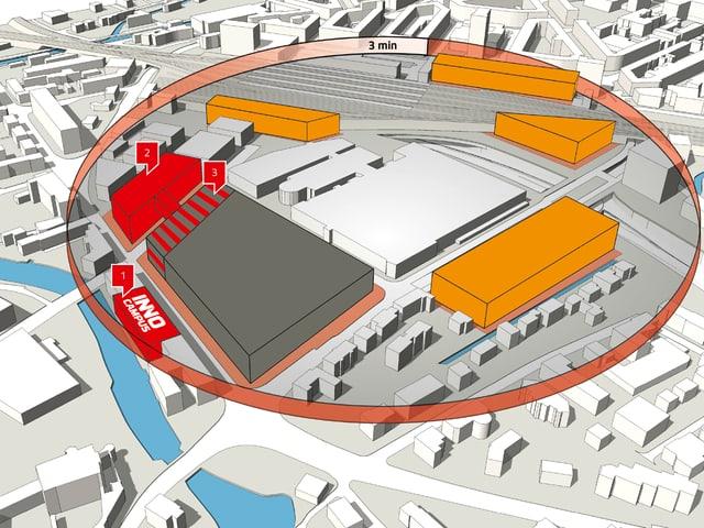Plan mit Situation des Neubaus des Innovationsparks.