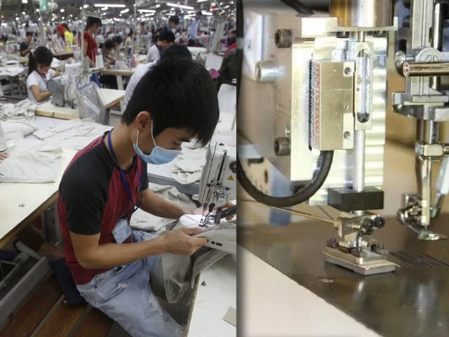 Collage: Junger Asiate an einer Nähmaschine; daneben Nahaufnahme eines Nährorboters.