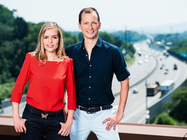 Katharina Locher und Michael Weinmann auf der Raststätte Würenlos