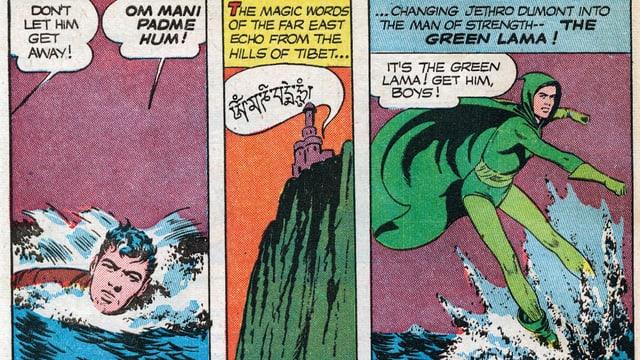 Ausschnitt aus dem Comic: Ein Mann schwimmt im Wasser und spricht einen tibetischen Zauberspruch. Darauf verwandelt er sich in einen Superhelden.