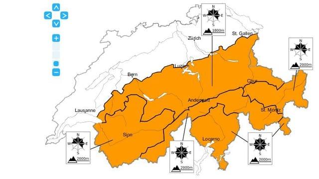 Schweizer Karte zeigt Lawinengefahr