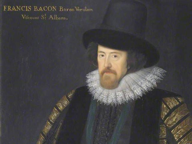 Das gemalte Porträt eines Mannes mit hohem Hut und reicher Kleidung.