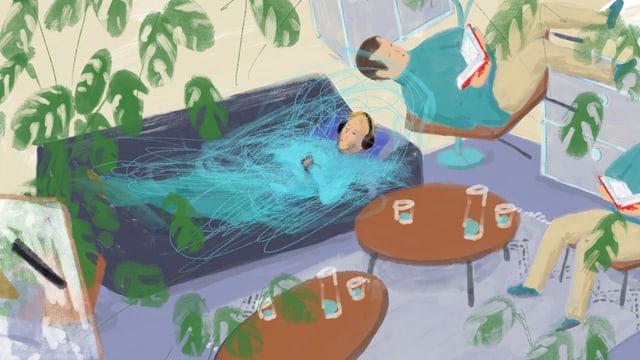 Illustration einer Person im Stadium der Verwirrung, die mit Kopfhörern auf einer Couch liegt, daneben sitzt ein Mann mit Buch in der Hand.