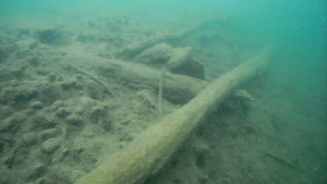 Pfähle unter Wasser.