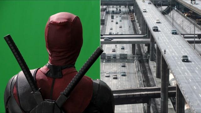 Ein Bild zeigt, wasim Film «Deadpool» aus dem Computer kommt und was echt ist.