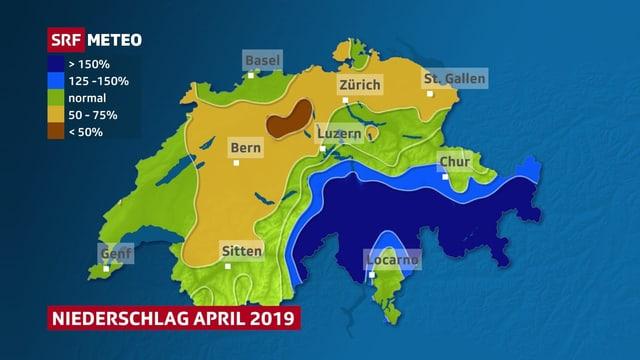 Karte, trockene Fläche von den Freiburger Alpen bis Aargau