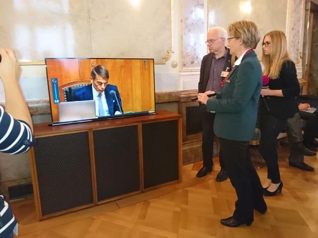 Frau mit Fernbedienung vor Fernsher.