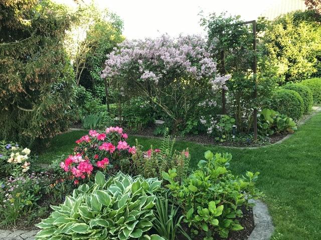 Fein säuberlich gestalteter Garten, mit abgerundeten Blumenbeeten.