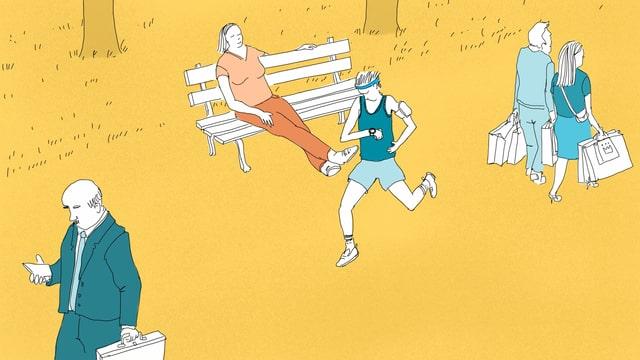Eine Illustration eines Joggers in einem Park. Er ist umgeben von Spaziergängern, einem Geschäftsmann und einer Frau,die auf einer Bank sitzt.