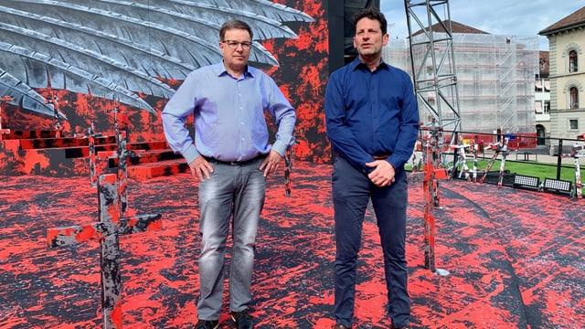 Der Chef der St. Galler Festspiele, der Direktor des Theaters St. Gallen, Werner Signer (links) und der Regisseur von «Il Trovatore», Aron Stiehl.