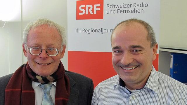 Regierungsrat Reto Dubach (links) und Kantonsrat Mariano Fioretti im Studio.