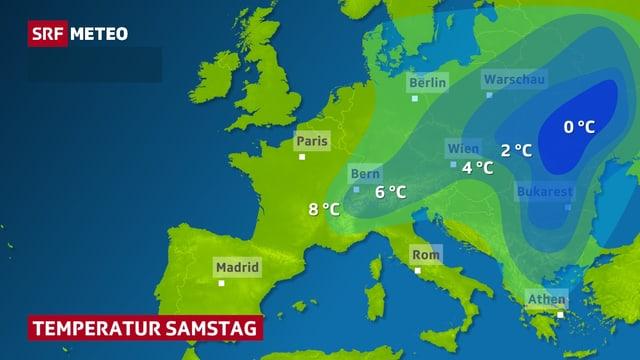 Flächig dargestellt die Temperatur in Europa  am Samstag, der Kältepol liegt beim Schwarzen Meer.