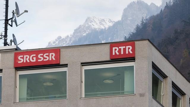 Logo der SRG auf dem Gebäude von RTR.