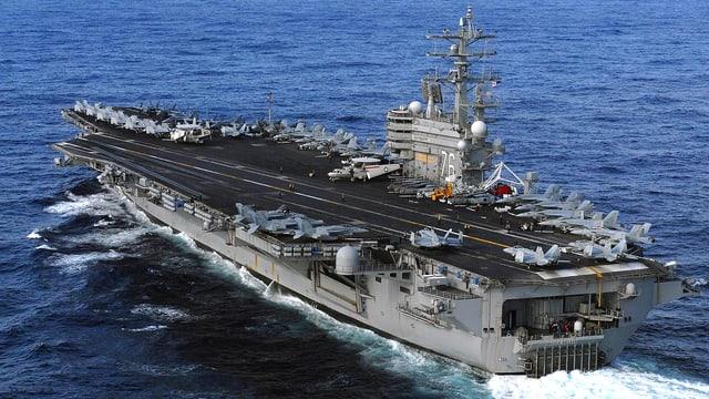 Der Flugzeugträger «USS Ronald Reagan» auf hoher See.