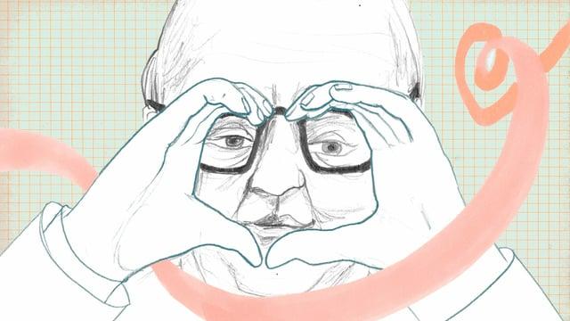 Zeichnung: Dürrenmatt Gesicht von nah. er formt mit den Händen einHerz, durch das er schaut