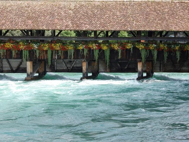Bei der Scherzligschleuse in Thun kommt das Wasser hoch.