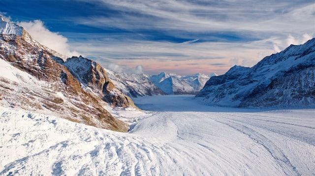 Der Ort des Zusammenfliessens mehrerer Schweizer Gletscher: Konkordiaplatz im Weltnaturerbe Jungfrau-Aletsch.