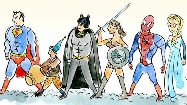 Schellen-Ursli neben Superman, Spiderman, Wonderwoman.