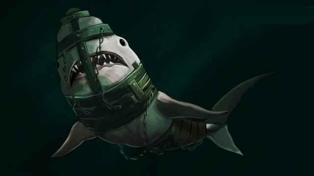 Ein Haifisch, gefangen in einem mittelalterlichen Eisen-Harnisch