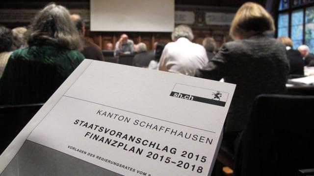 Broschüre Budget 2015, dahinter Köpfe des Parlaments