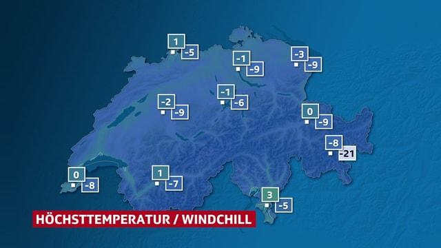 Schweizer Karte mit den Höchstwerte und dem Windchill.